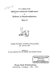International Conference. on Defects in Semiconductors. Part 2. Lehigh University, Bethlehem, Pennsylvania July 1991