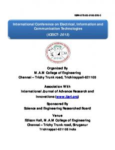 International Conference on Electrical, Information and Communication Technologies (ICEICT- 2015)