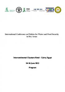 International Conference on Policies for Water and Food Security in Dry Areas