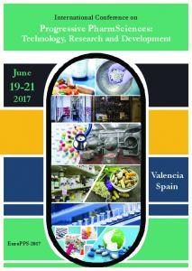 International Conference on. Progressive PharmSciences: Technology, Research and Development. June Valencia Spain