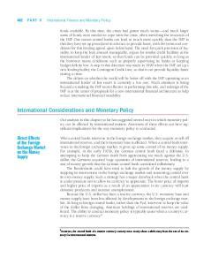 International Considerations and Monetary Policy