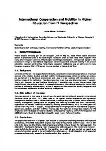 International Cooperation and Mobility in Higher Education from IT Perspective