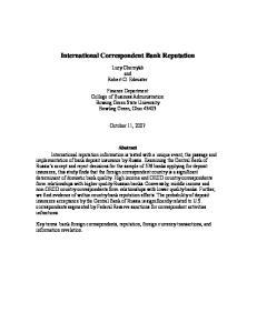 International Correspondent Bank Reputation