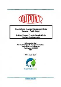 International Cyanide Management Code Summary Audit Report. DuPont Mexico Cyanide Supply Chain Re-Certification Audit