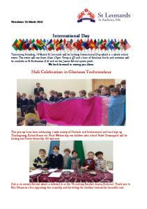 International Day. Holi Celebration in Glorious Technicolour