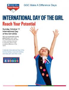 INTERNATIONAL DAY OF THE GIRL Reach Your Potential
