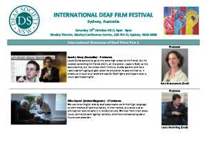 INTERNATIONAL DEAF FILM FESTIVAL Sydney, Australia