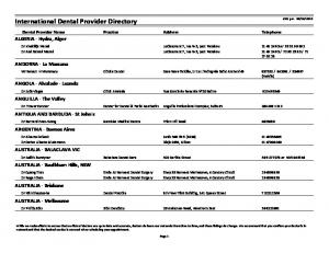 International Dental Provider Directory