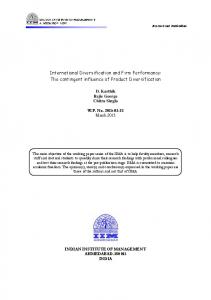 International Diversification and Firm Performance: The contingent influence of Product Diversification