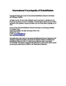 International Encyclopedia of Rehabilitation