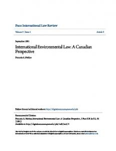 International Environmental Law: A Canadian Perspective