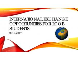 INTERNATIONAL EXCHANGE OPPORTUNITIES FOR LCOB STUDENTS