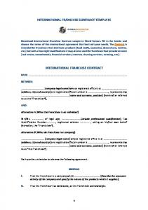 INTERNATIONAL FRANCHISE CONTRACT TEMPLATE INTERNATIONAL FRANCHISE CONTRACT