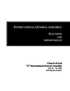INTERNATIONAL GENERAL ASSEMBLY