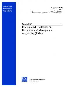 International Guidelines on Environmental Management Accounting (EMA)
