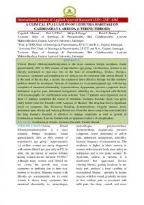 International Journal of Applied Ayurved Research ISSN: A CLINICAL EVALUATION OF GOMUTRA HARITAKI ON GARBHASHAYA ARBUDA (UTERINE FIBROID)