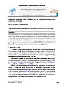 International Journal of Asian Social Science CULTURE ANALYSIS: THE INTERACTION OF ORGANIZATIONAL AND NATIONAL CULTURE