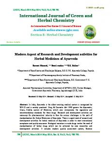 International Journal of Green and Herbal Chemistry