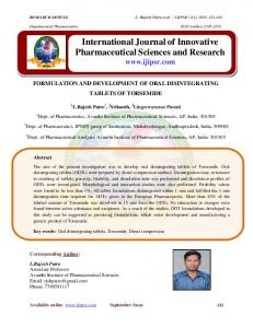 International Journal of Innovative Pharmaceutical Sciences and Research