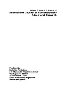 International Journal of Multidisciplinary Educational Research