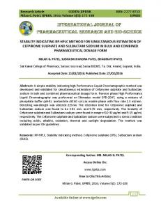 INTERNATIONAL JOURNAL OF PHARMACEUTICAL RESEARCH AND BIO-SCIENCE