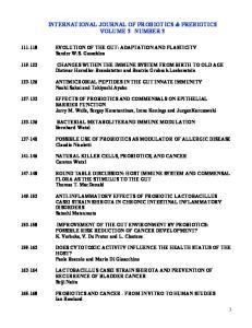 INTERNATIONAL JOURNAL OF PROBIOTICS & PREBIOTICS VOLUME 3 NUMBER 3