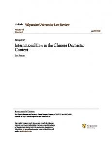 International Law in the Chinese Domestic Context