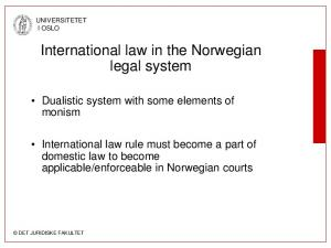 International law in the Norwegian legal system