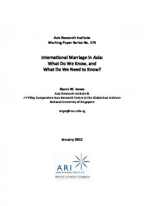 International Marriage in Asia: What Do We Know, and What Do We Need to Know?