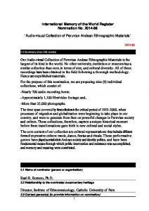 International Memory of the World Register Nomination No Audio-visual Collection of Peruvian Andean Ethnographic Materials