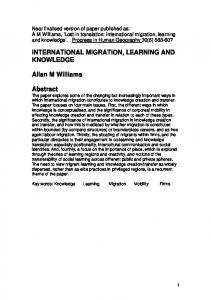 INTERNATIONAL MIGRATION, LEARNING AND KNOWLEDGE