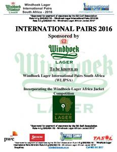 INTERNATIONAL PAIRS 2016 Sponsored by