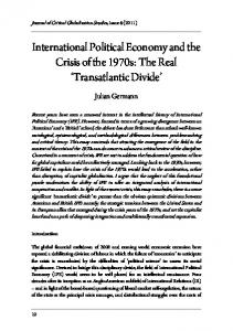 International Political Economy and the Crisis of the 1970s: The Real Transatlantic Divide