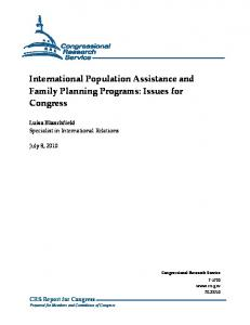 International Population Assistance and Family Planning Programs: Issues for Congress