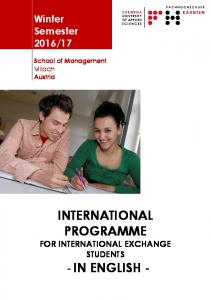 INTERNATIONAL PROGRAMME FOR INTERNATIONAL EXCHANGE STUDENTS
