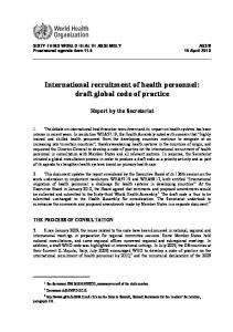International recruitment of health personnel: draft global code of practice