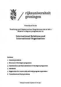 International Relations and International Organization
