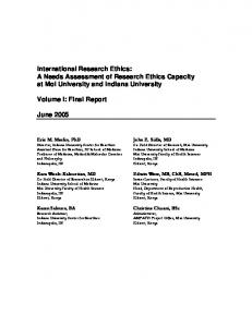 International Research Ethics: A Needs Assessment of Research Ethics Capacity at Moi University and Indiana University