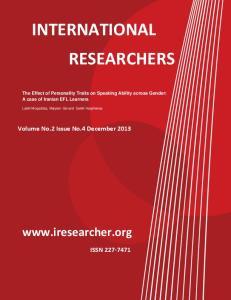 INTERNATIONAL RESEARCHERS.    Volume No.2 Issue No.4 December 2013 ISSN