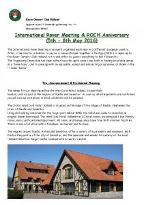 International Rover Meeting & ROCH Anniversary (5th - 8th May 2016)