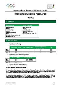 INTERNATIONAL ROWING FEDERATION. Rowing