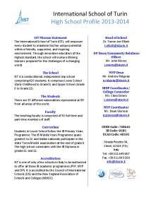 International School of Turin High School Profile