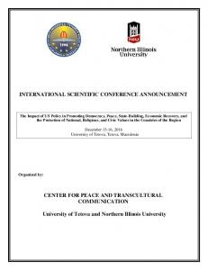 INTERNATIONAL SCIENTIFIC CONFERENCE ANNOUNCEMENT
