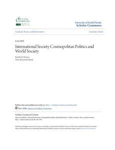 International Society Cosmopolitan Politics and World Society
