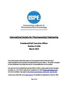 International Society for Pharmaceutical Engineering