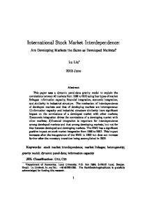 International Stock Market Interdependence:
