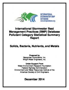 International Stormwater Best Management Practices (BMP) Database Pollutant Category Statistical Summary Report