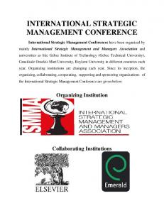 INTERNATIONAL STRATEGIC MANAGEMENT CONFERENCE