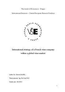 International strategy of a French wine company within a global wine market. University of Economics - Prague