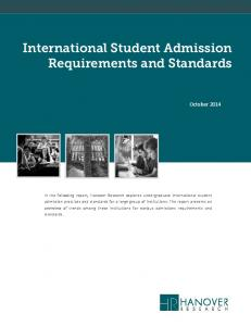 International Student Admission Requirements and Standards